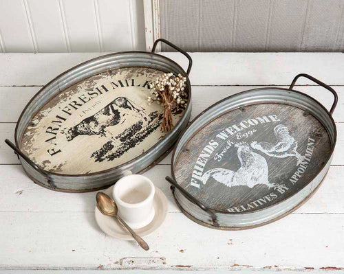 Set of Two Farmhouse Oval Serving Trays - Cakra Ardor