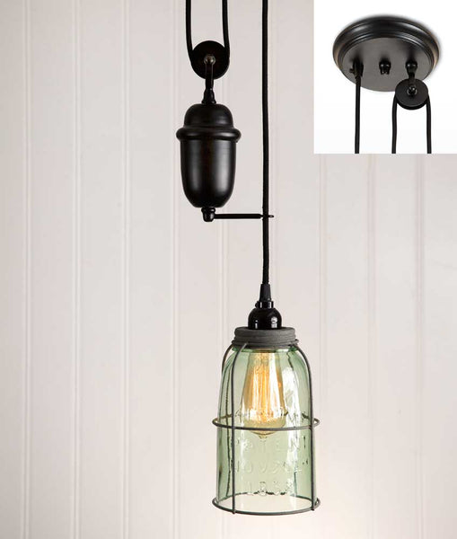 Half Gallon Caged Mason Jar Pulldown Pendant Lamp - Barn Roof - Cakra Ardor