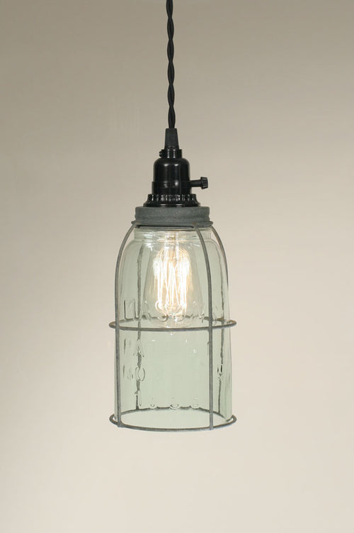 Half Gallon Caged Mason Jar Pendant Lamp - Barn Roof - Cakra Ardor