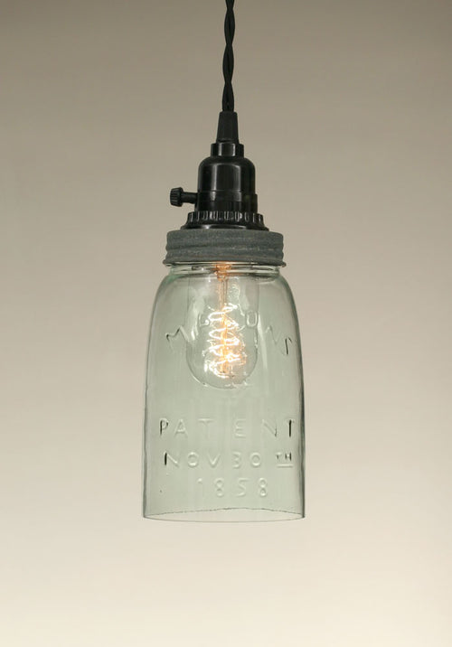 Quart Open Bottom Mason Jar Pendant Lamp - Barn Roof - Cakra Ardor