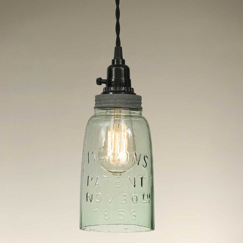 Half Gallon Open Bottom Mason Jar Pendant Lamp - Barn Roof - Cakra Ardor