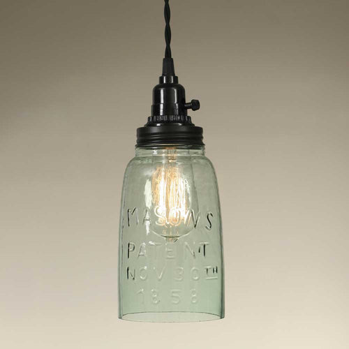 Half Gallon Open Bottom Mason Jar Pendant Lamp - Rustic Brown - Cakra Ardor