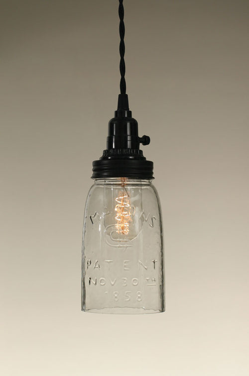 Quart Open Bottom Mason Jar Pendant Lamp - Clear Glass - Cakra Ardor