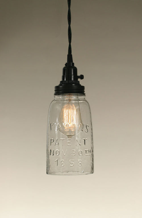 Half Gallon Open Bottom Mason Jar Pendant Lamp - Clear Glass - Cakra Ardor