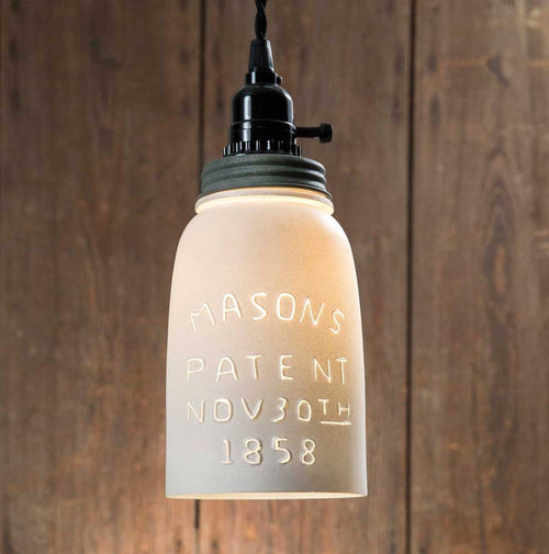 White Half Gallon Mason Jar Pendant Lamp - Barn Roof Lid - Cakra Ardor