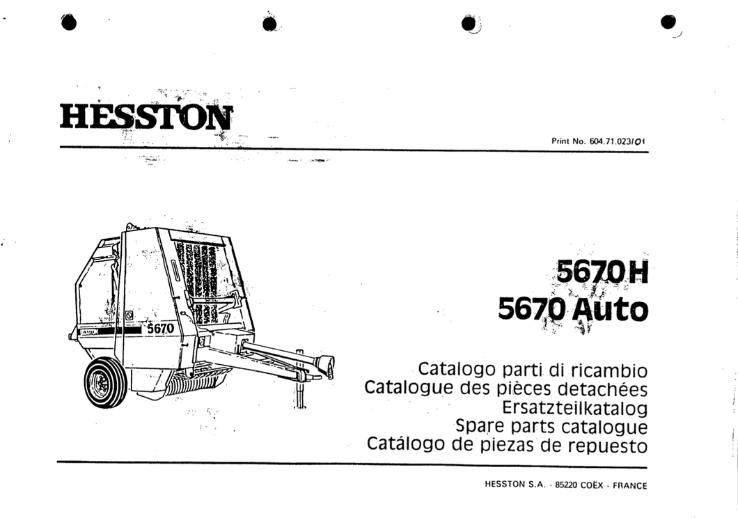 Hesston 5670 Parts Catalogue, Spares Parts List Manual PDF