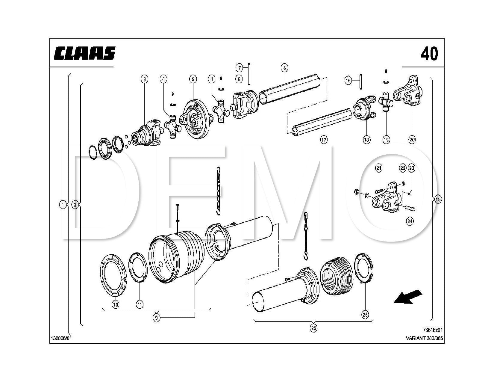 Claas Variant 380/385/RF/RC Parts Catalogue, Spares Manual