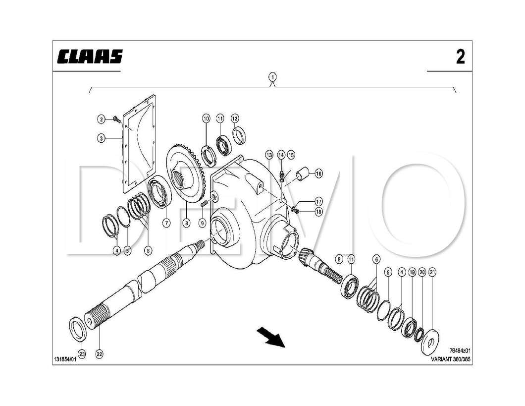 Claas Variant 180/RC TYP 049 Parts Catalogue Spares Manual