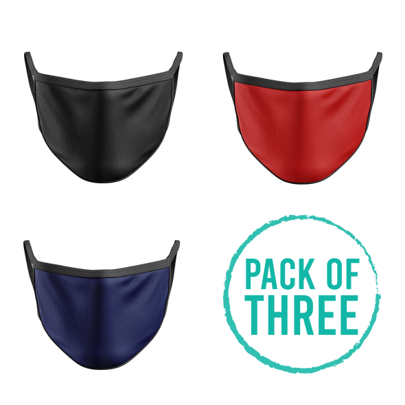 Pack Of Three Mask - Black , Red , Navy