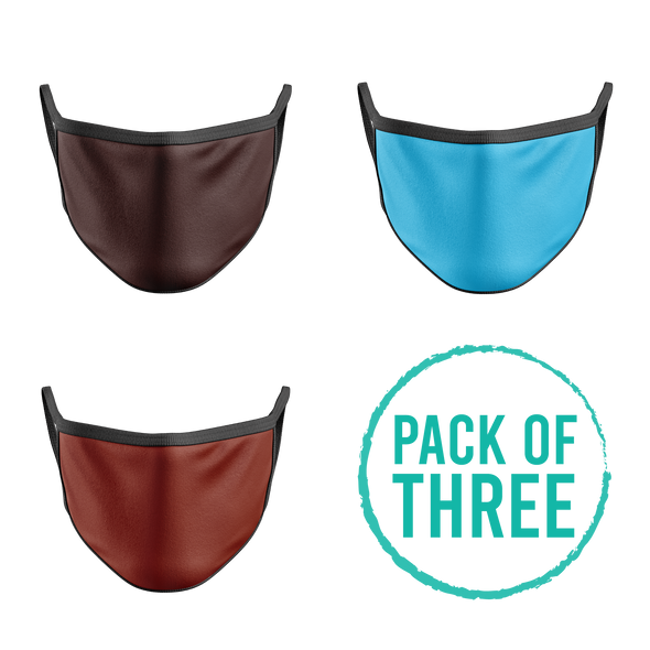 Pack Of Three Mask - Brown, Turquoise, Brick Red