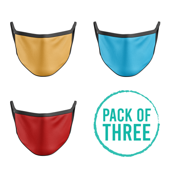 Pack Of Three Mask - Golden, Turquoise, Red