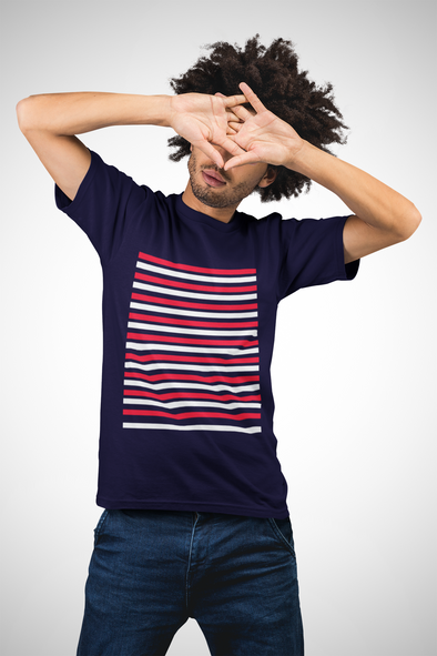 Printed Crew Neck T-shirt - Dual Stripe Pattern