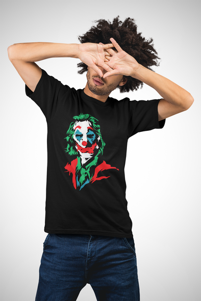 Printed Crew Neck T-shirt : Joker Illustration Fan Art