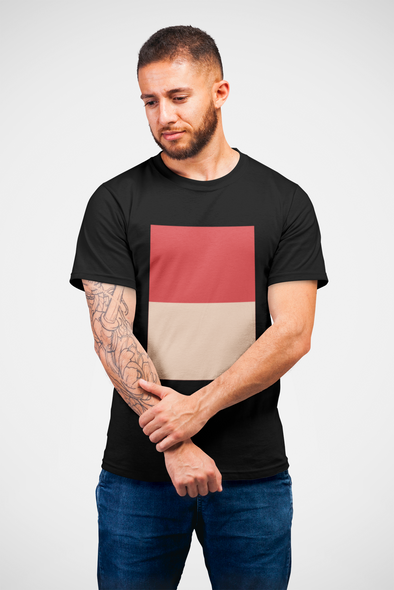 Printed Crew Neck T-shirt - Dual Colour Block