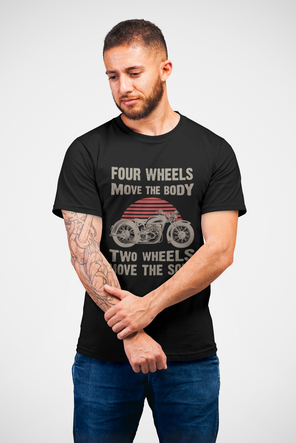 Printed Crew Neck T-shirt : Two Wheels