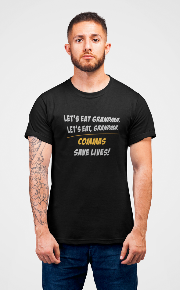 Printed Crew Neck T-shirt : Commas Save Lives