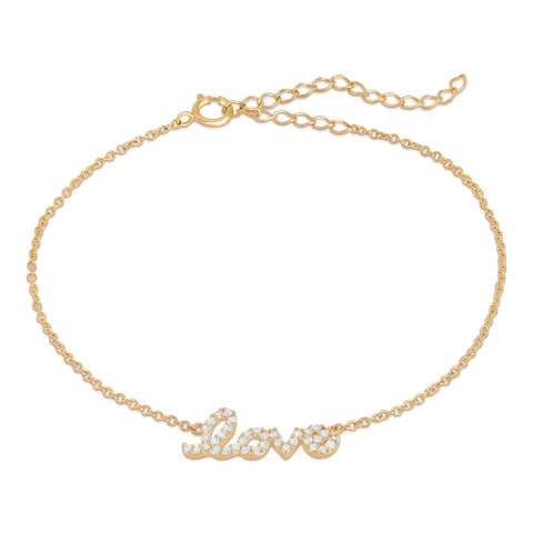 Silver Gold Plated Chain Love Bracelet - GNRTN