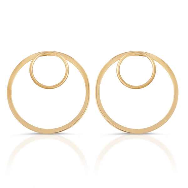Silver Gold Plated Forward Facing Double Hoop Earrings - GNRTN