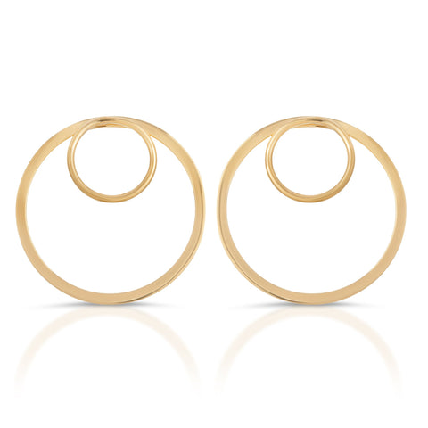 Silver Gold Plated Forward Facing Double Hoop Earrings