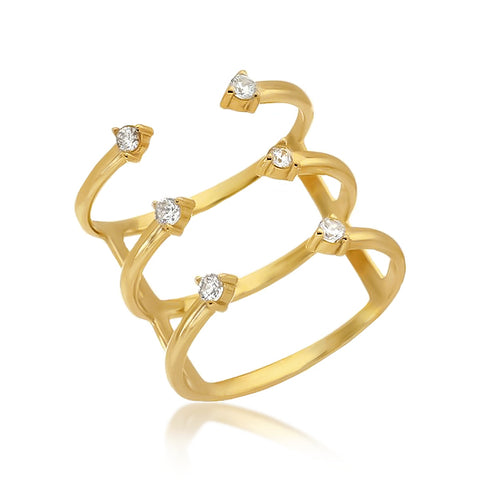 TRI STACKED OPEN RING