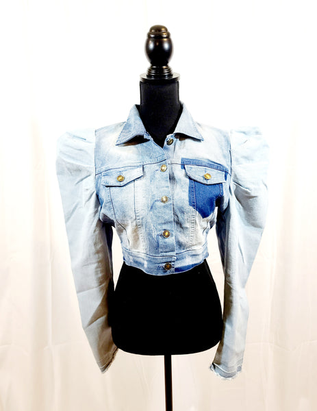 Puff Sleeve Light Weight Denim Jacket