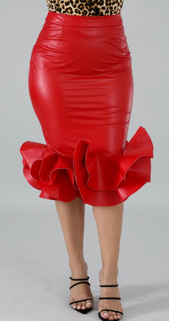 Leatherette Swirl Skirt