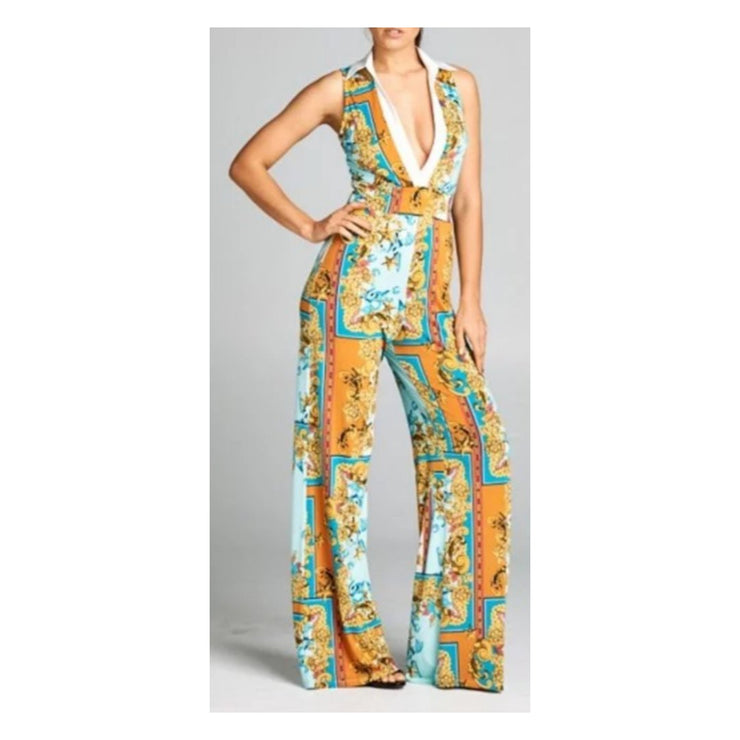 Plunging Neck Line Jumpsuit