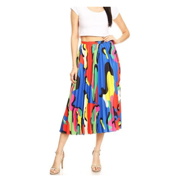Multi Colored Pleated Skirt
