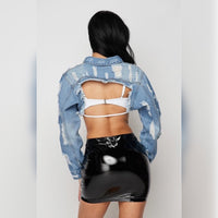 Distressed Crop Denim Jacket