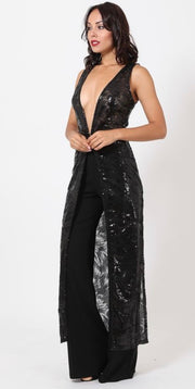 Long Sleeveless Sequin Duster
