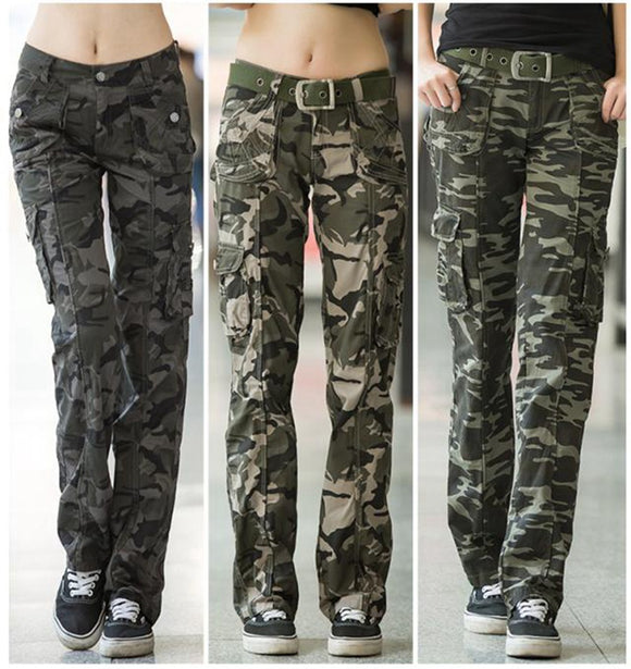 Women Clothing casual cargo pants straight  Camouflage
