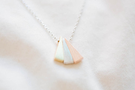 Triangle Necklaces  Bridesmaid Gift Minimal