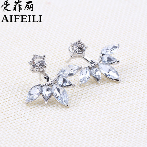 AIFEILI  Big Crystal Silver Color Ear J