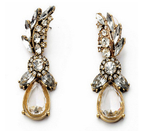 Ahmed White Crystal long Earring