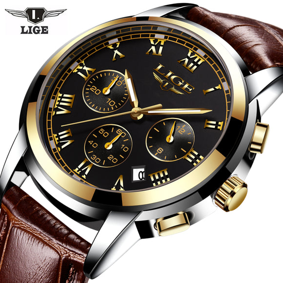 LIGE Brand Men Leather Sprat Military Watches Men's Chronograph
