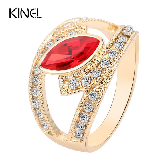Bague  Cristal Rouge  D'or Couleur Punk Rock