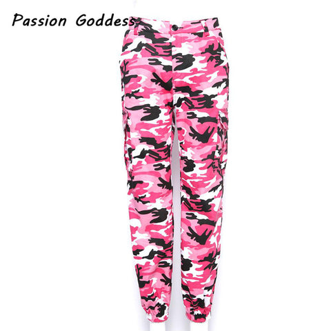 Women Harajuku Pink Jogger Pants Gray Purple Camouflage
