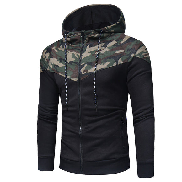 FEITONG Sweatshirt For Men Fashion Camouflage Long Sleeve