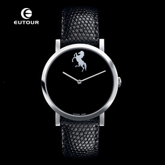 EUTOUR Ultra Thin Luxury Brand Men black Watch