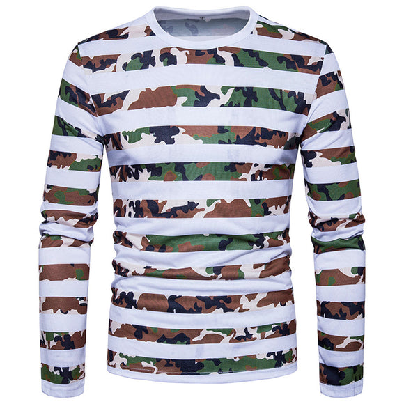 Man's T-shirt 2018 Male Casual style Striped Camouflage