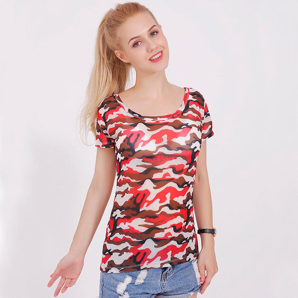 11 colors Women 2017 summer print knitting Army camouflage