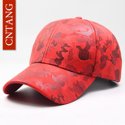 CNTANG Leather Suede PU Camouflage Baseball Unisex