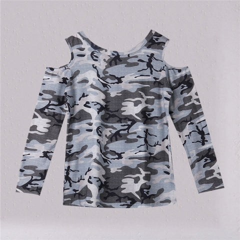 Women Camouflage Printing T shirt Long Sleeve Top