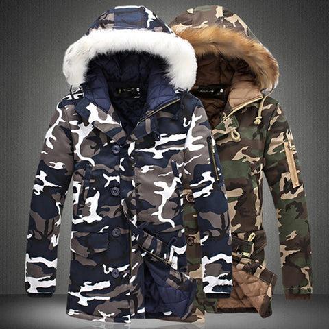 Camouflage Parkas Mens Military Medium long Winter Coatd