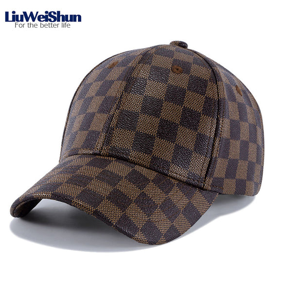 -50% sur les LiuWeiShun Retro Plaid PU Leather Baseball Cap For Men Women