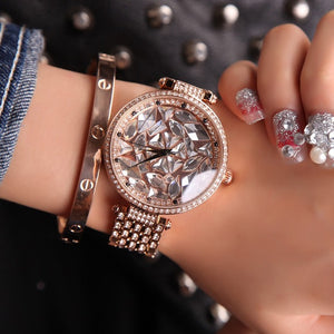 Montre Femmes De Luxe En Or Rose Dames Montre Top Strass Quartz