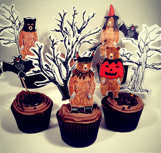 Illustrated Halloween Cupcake Toppers