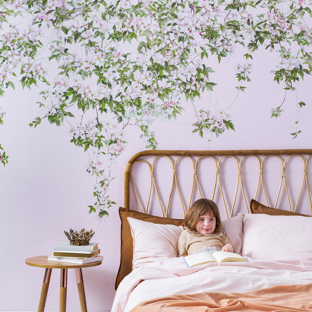 The Clematis Wallpaper Mural in Pink