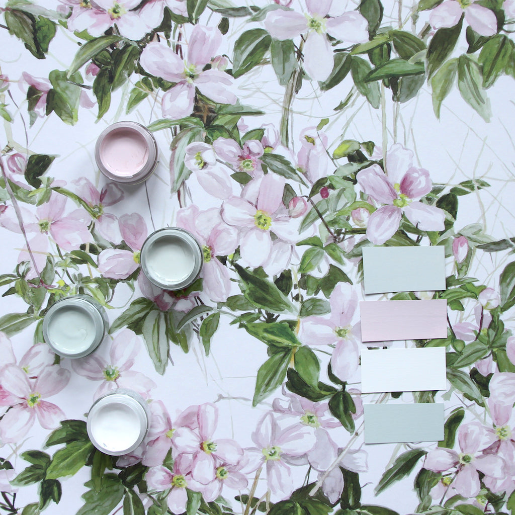 Sian Zeng Clematis Wallpaper in White