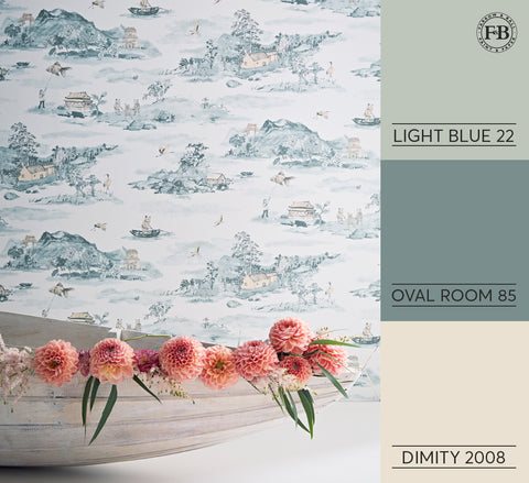 Sian Zeng Classic Mountains Wallpaper in Blue Peach - matched with Farrow & Ball paint colours